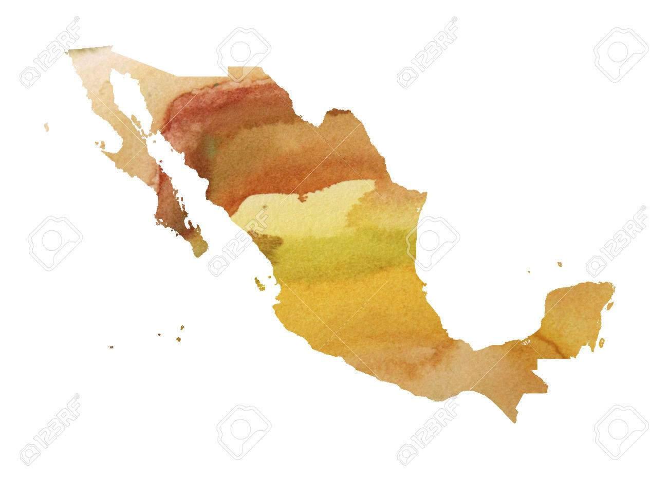Mexico Watercolor Map Beautiful Wall Art Home Decor Canvas