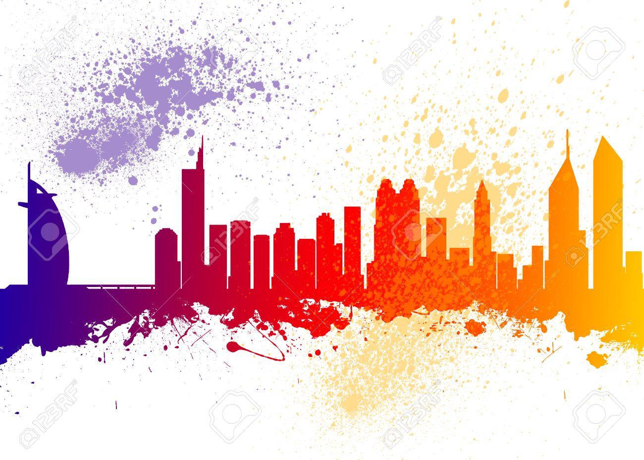 Color art dubai - Watercolor Art Print Of The Skyline Of Dubai Stock Photo 37230981