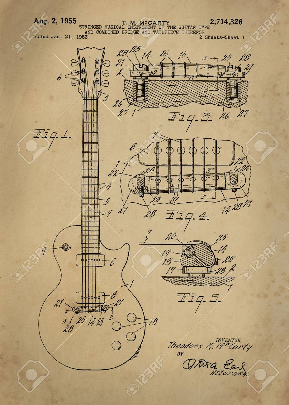 Old blueprint stock photos royalty free old blueprint images les paul guitar patent from 1955 inventor t m mccarty vintage patent artwork great presentation in both malvernweather Image collections