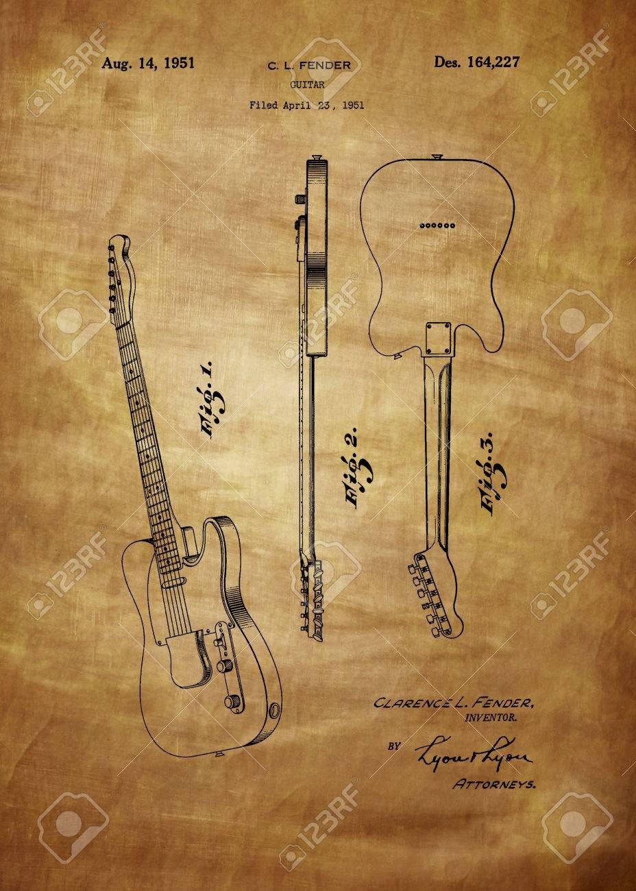 6e95e11fc3c77 Fender brevet de guitare à partir de 1951 des brevets Art - Fine Art  Photograph basée sur l'illustration de brevet d'origine Cherché Et Enhanced  De ...