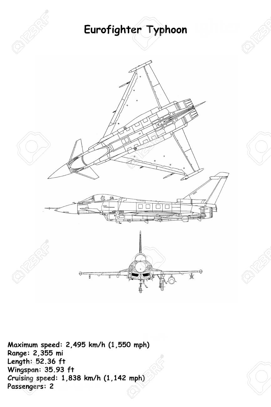 aircraft blueprint of the eurofighter typhoon is a twin-engine,  canard-delta wing