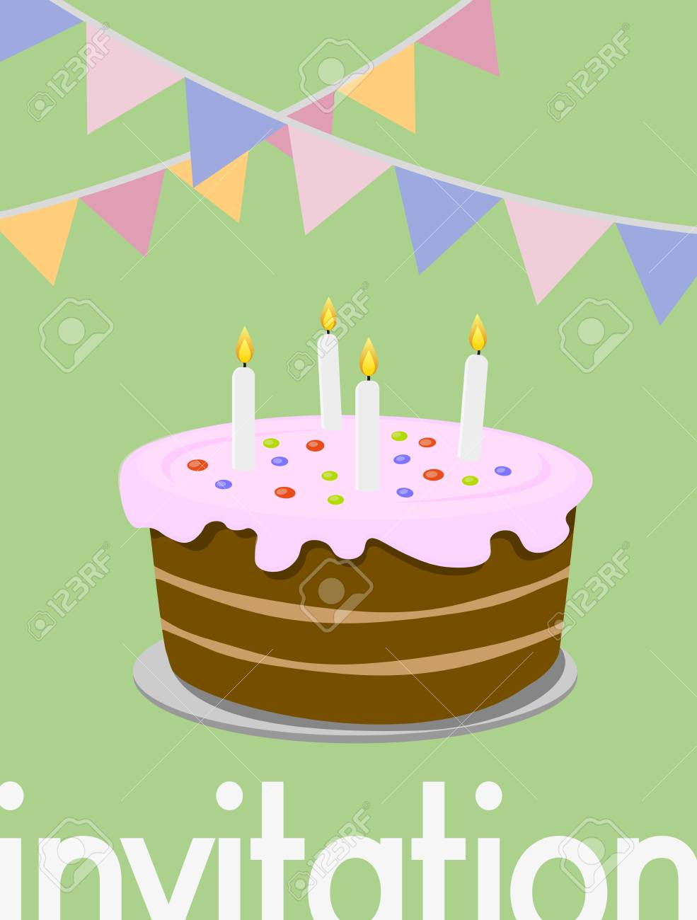Happy Birthday Greeting Card With Colorful Birthday Cake