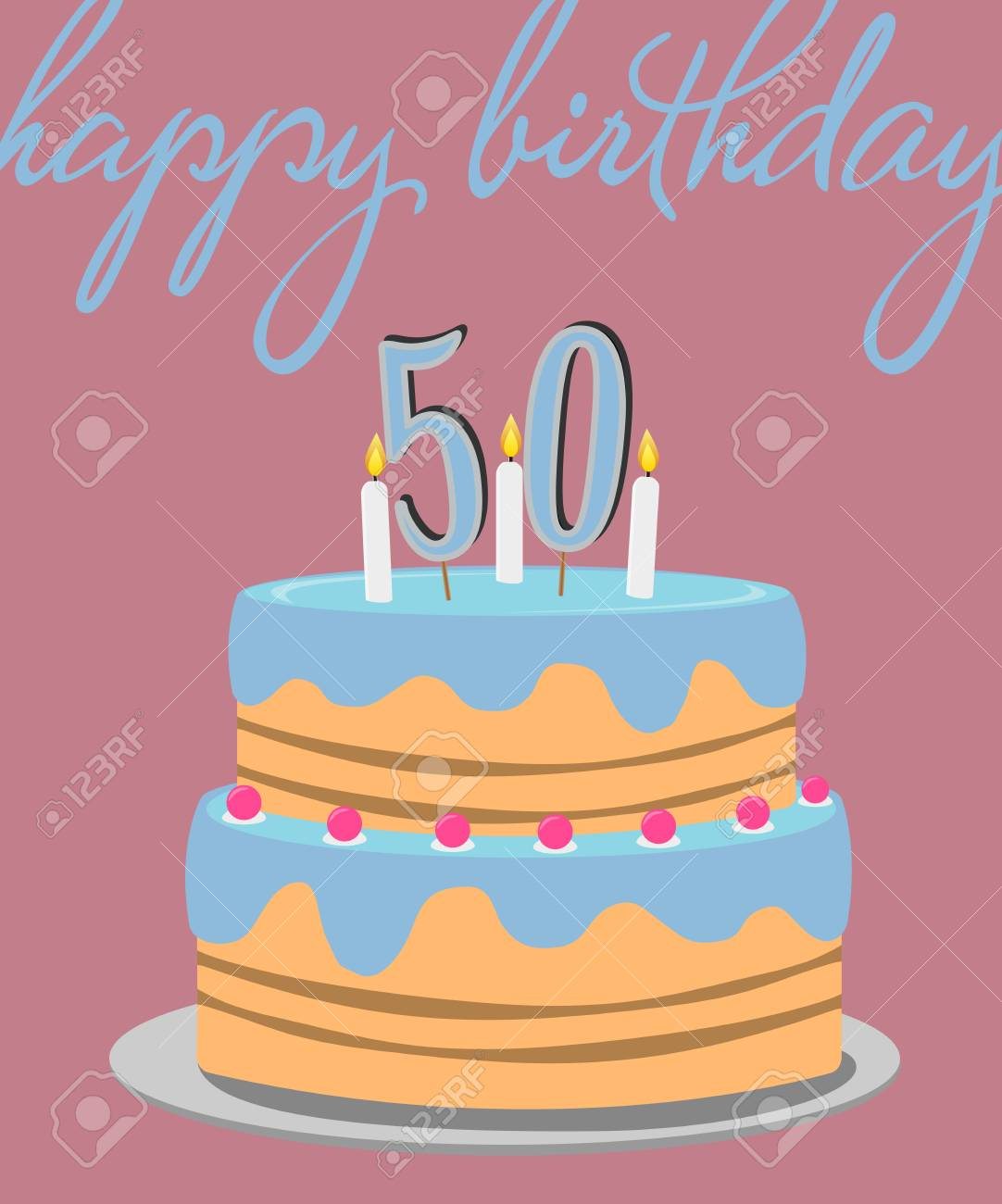 Happy 50th Birthday Greeting Card With Colorful Cake Illustration Stock