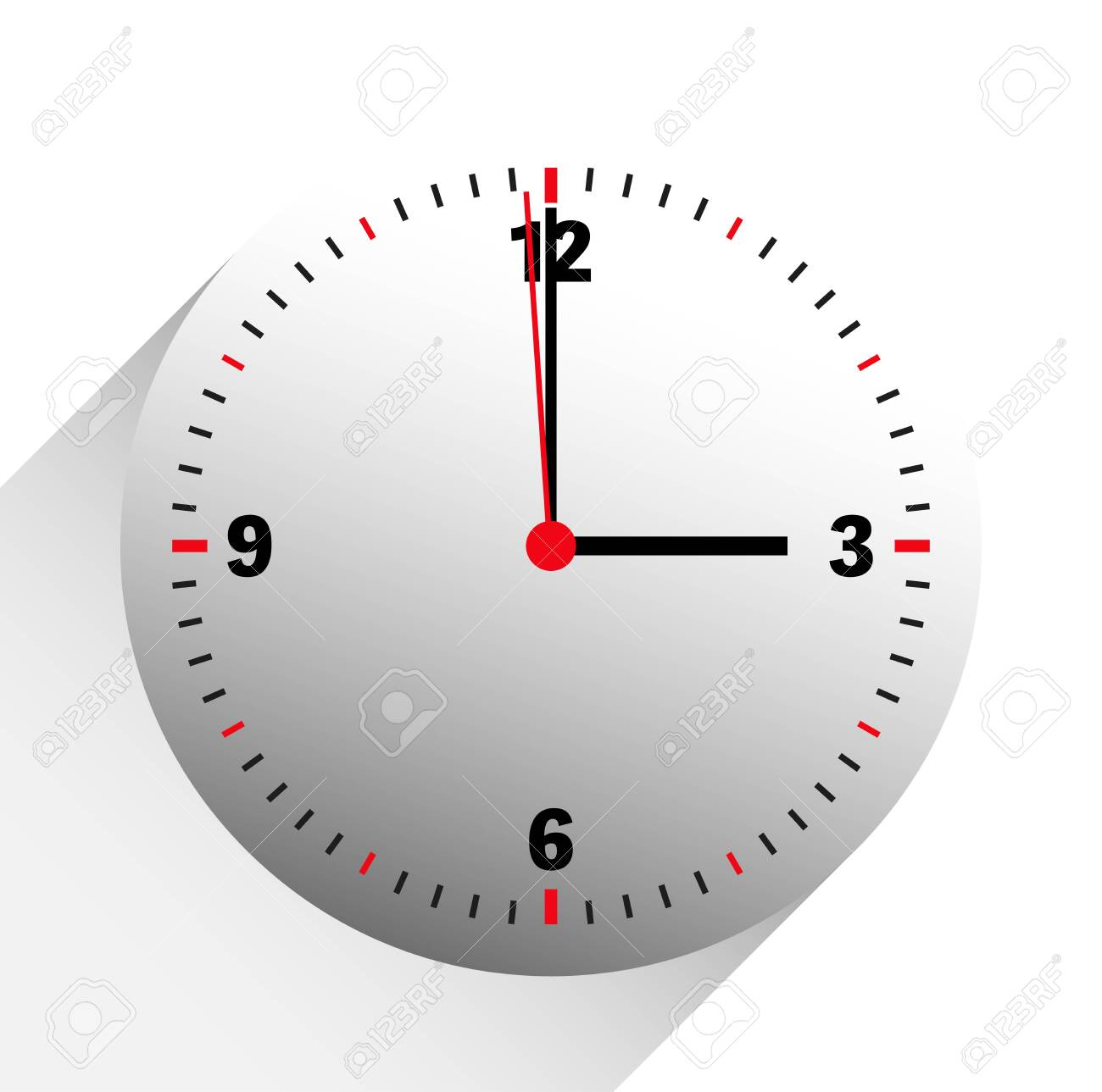clock vector illustration showing 3 o'clock on white background - 124380843