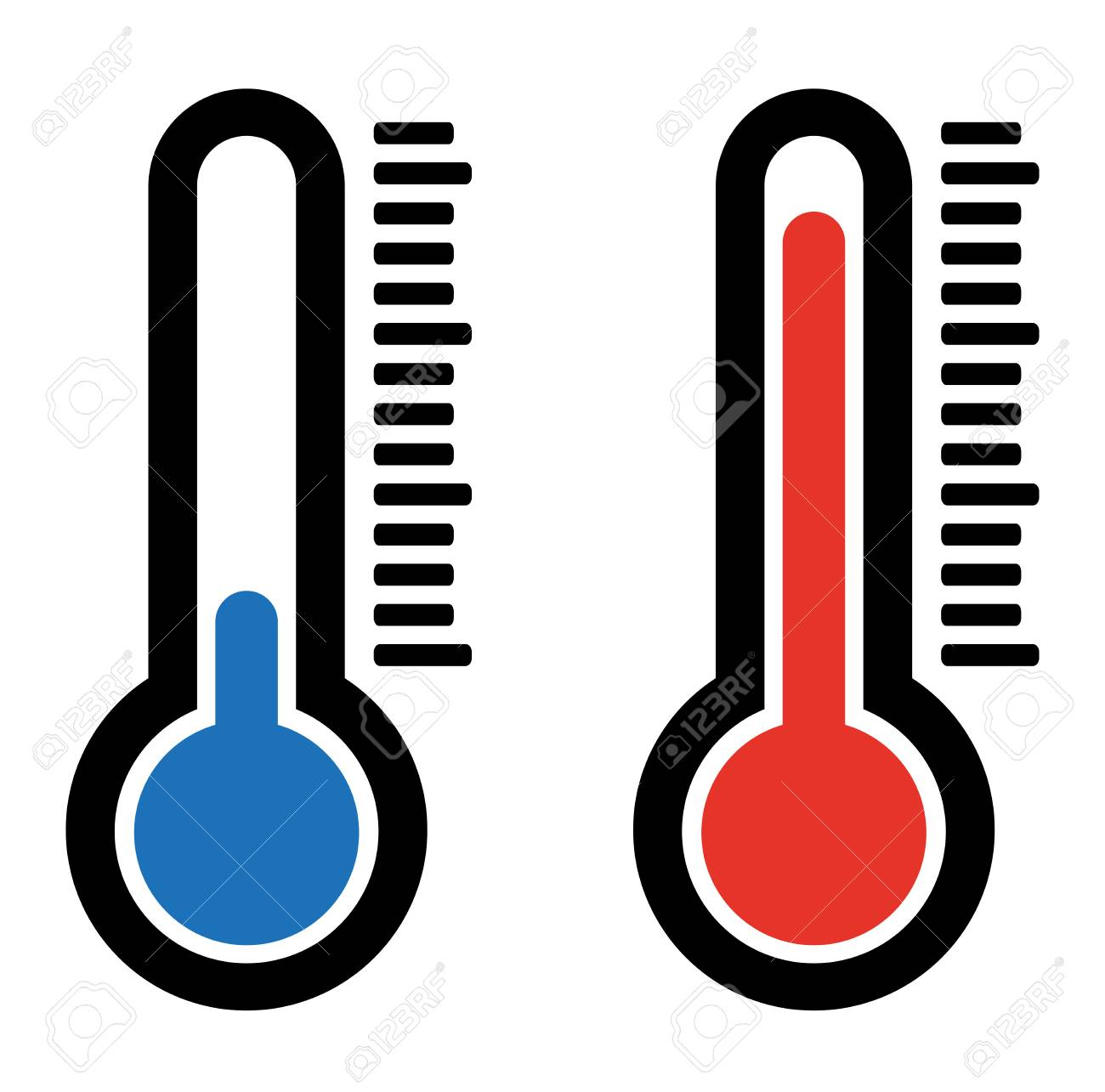 simple flat hot and cold temperature air thermometer icon - 120546877