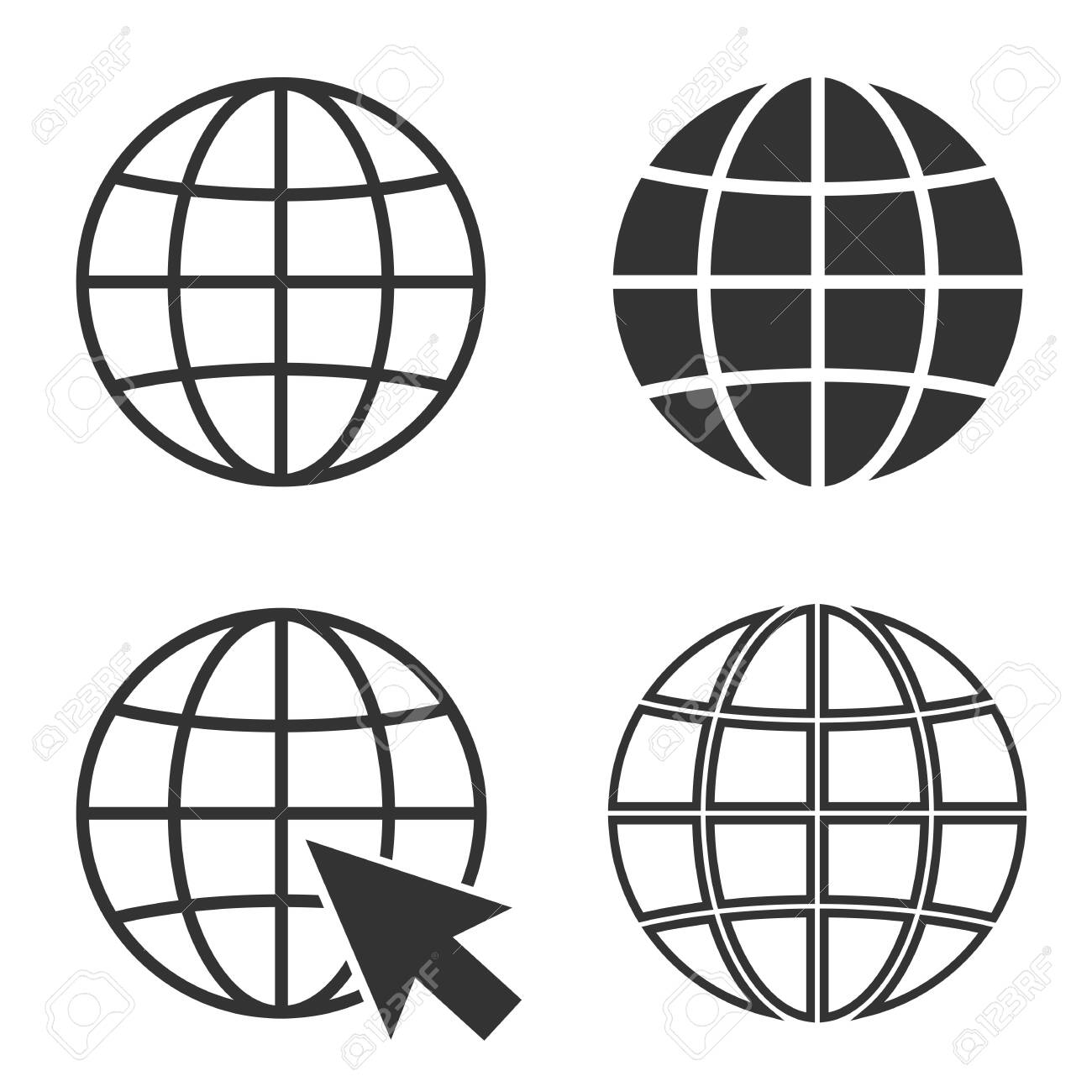 simple globe icon set and internet symbol vector illustration