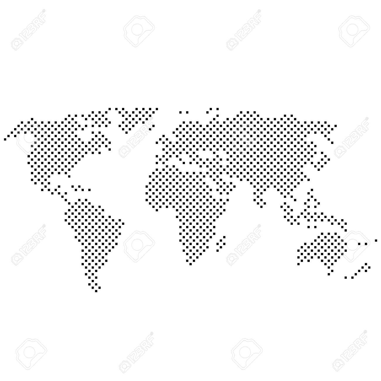 Image of: Simple Abstract Pixelated Black And White World Map Icon Vector Royalty Free Cliparts Vectors And Stock Illustration Image 134109175