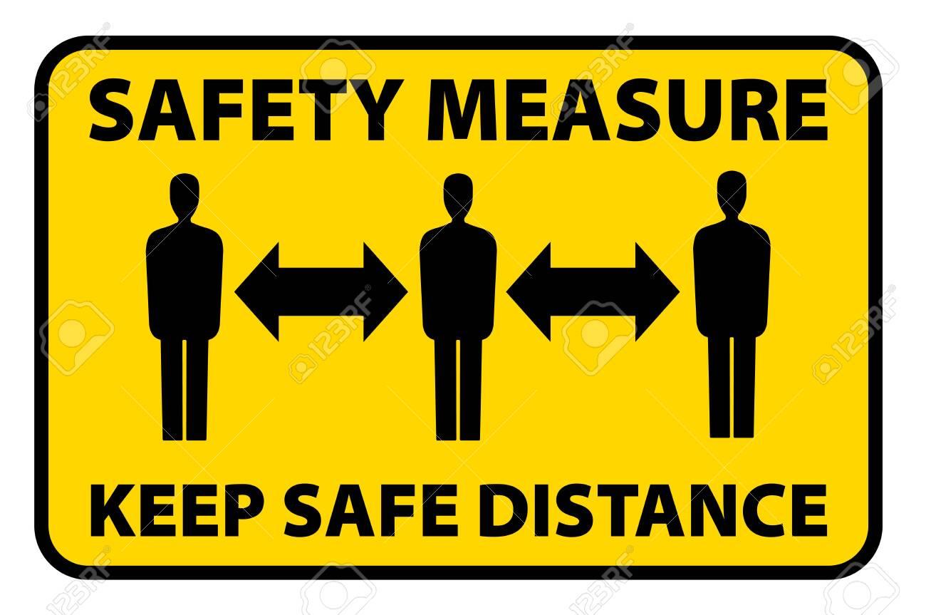 safety measure keep a safe distance sign, corona virus pandemic precaution vector illustration - 142852465