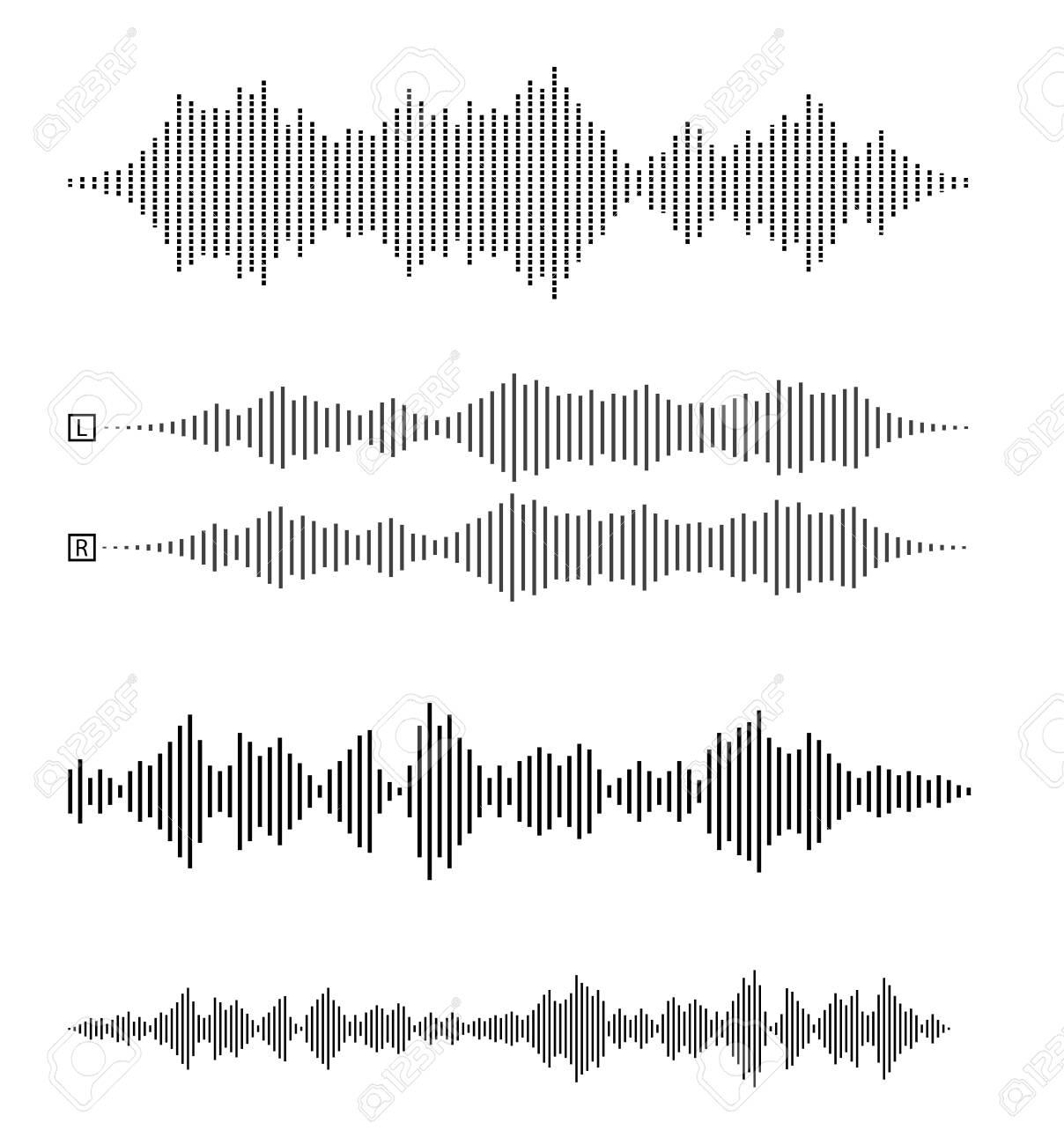 set of audio waveforms or sound waves, speech, noise or music symbol vector illustration - 150937549