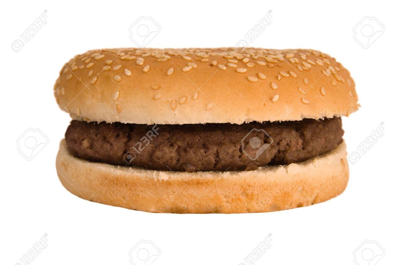 Simple, plain quarter pounder burger in a sesame seed bun - 2813257