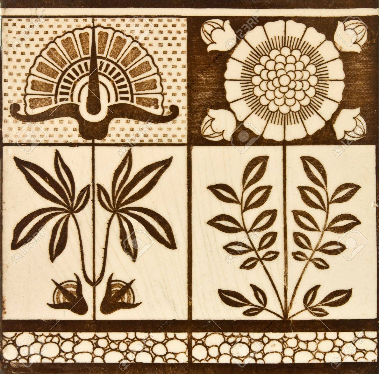 Arts and crafts tiles - Panel Design Tile From The Arts Crafts Period C1890 Stock Photo 3729646