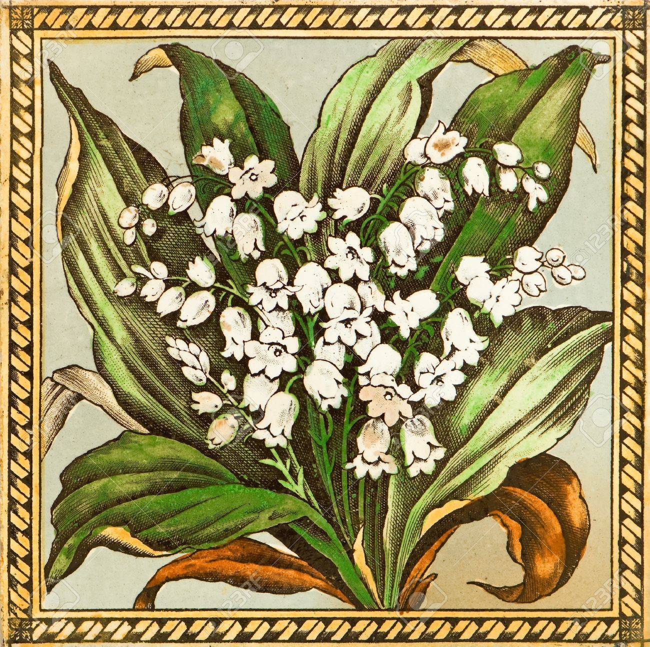 genuine victorian arts & crafts period tile design - lily of