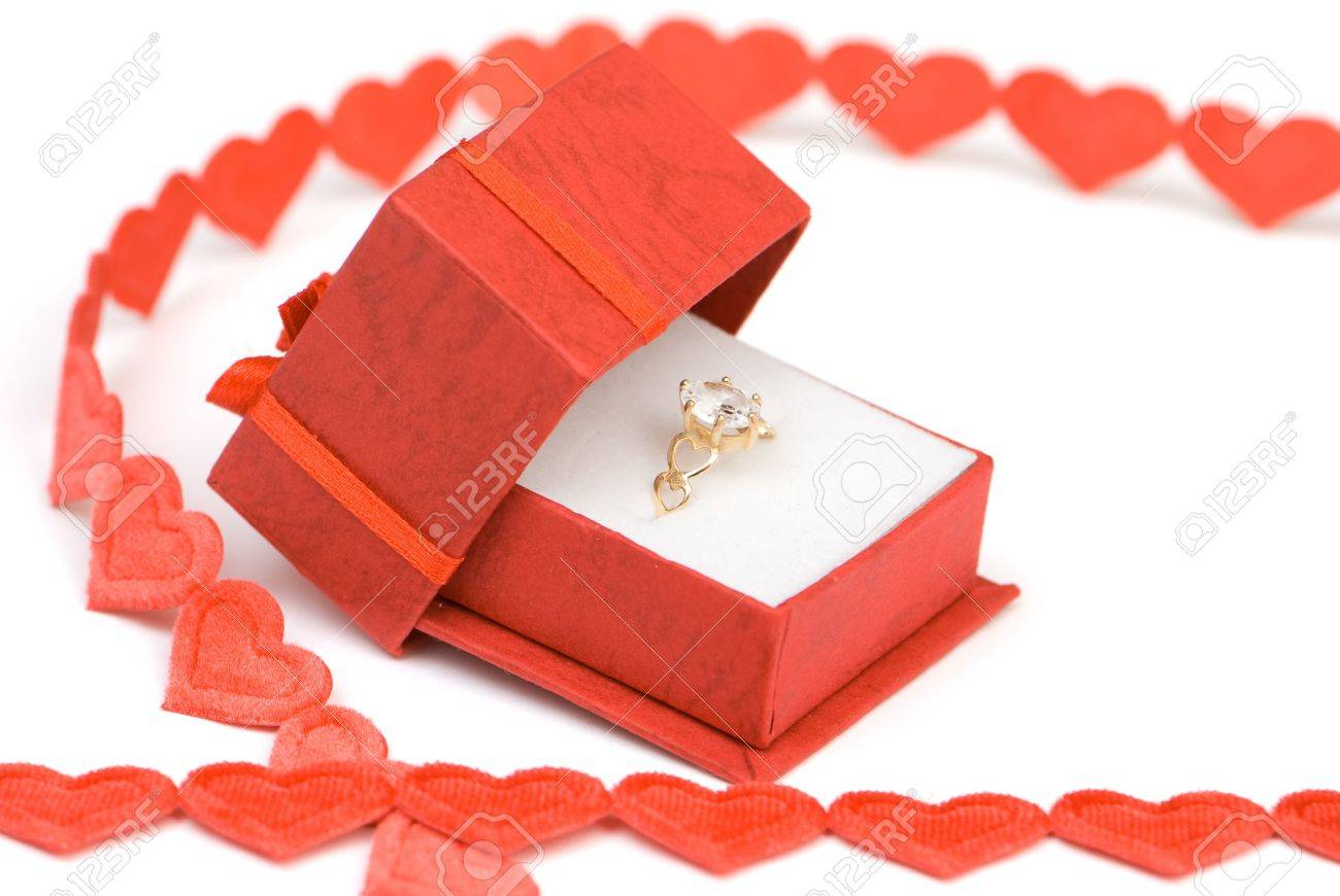 Engagement Ring In Box On Valentines Day Ready For Proposal Stock Photo   4192829