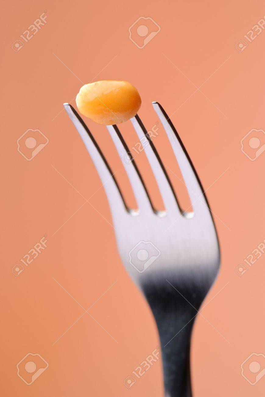 4843304-single-baked-bean-on-fork-with-a