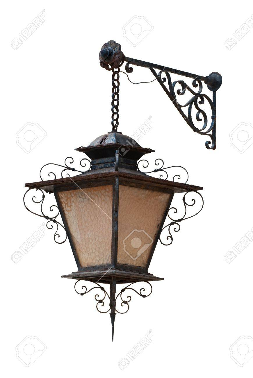 Antique street lantern isolated on white background Stock Photo - 5060710