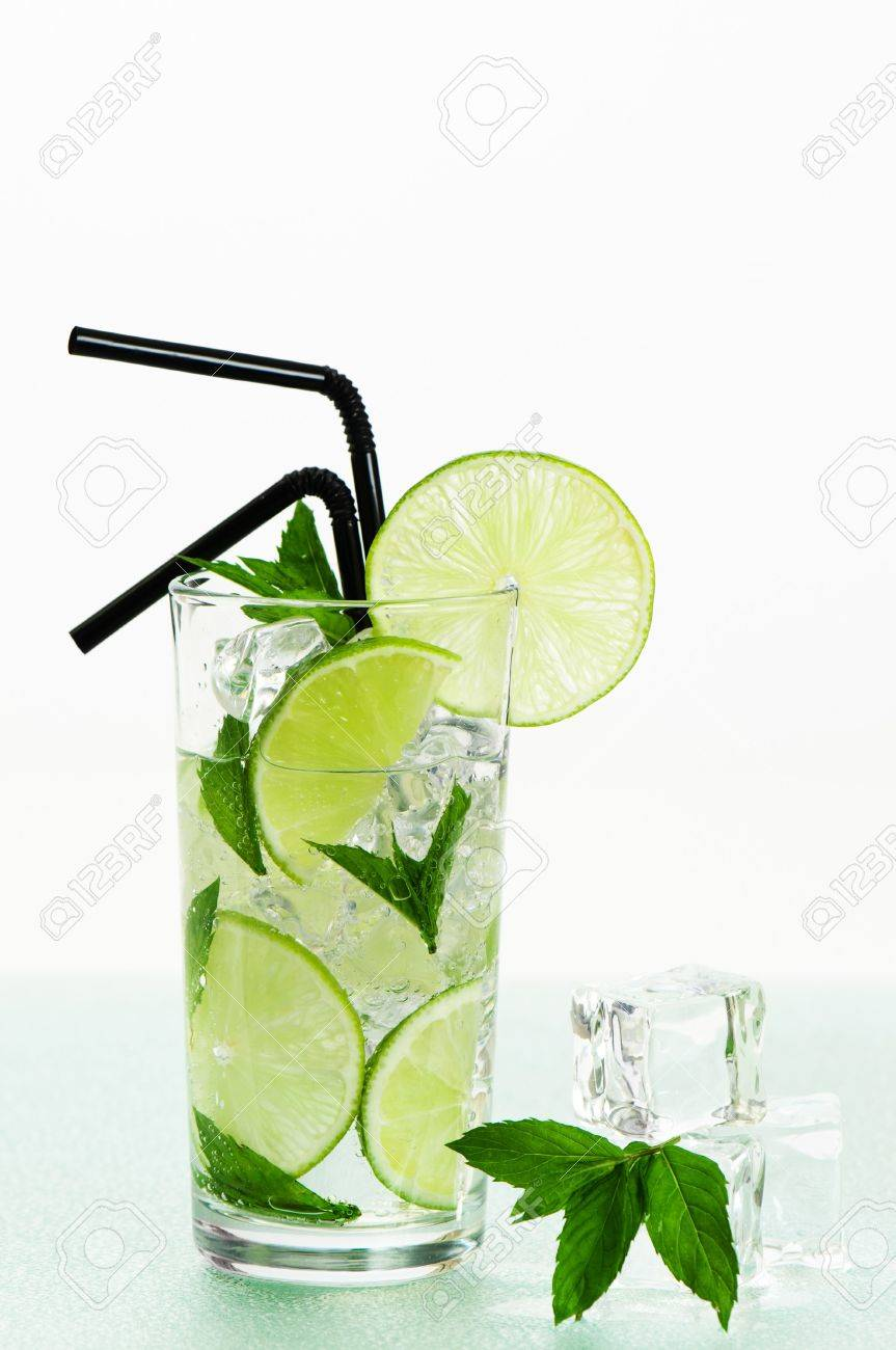 Charming Cool Refreshing Mojito Cocktail With Mint And Lime Decoration Stock Photo    5234529