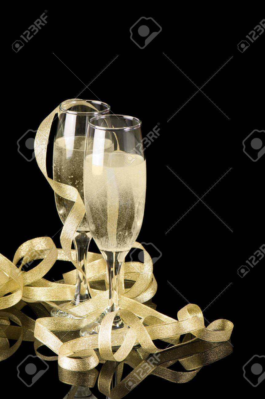 Champagne toast with two glasses and golden ribbons Stock Photo - 5670215
