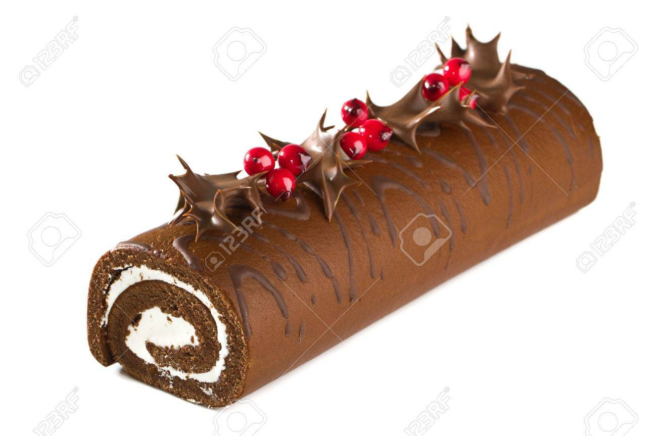 How to make a christmas yule log decoration - Christmas Yule Log Cake Decorated With Chocolate Dipped Holly Leaves And Berries On White Background Stock