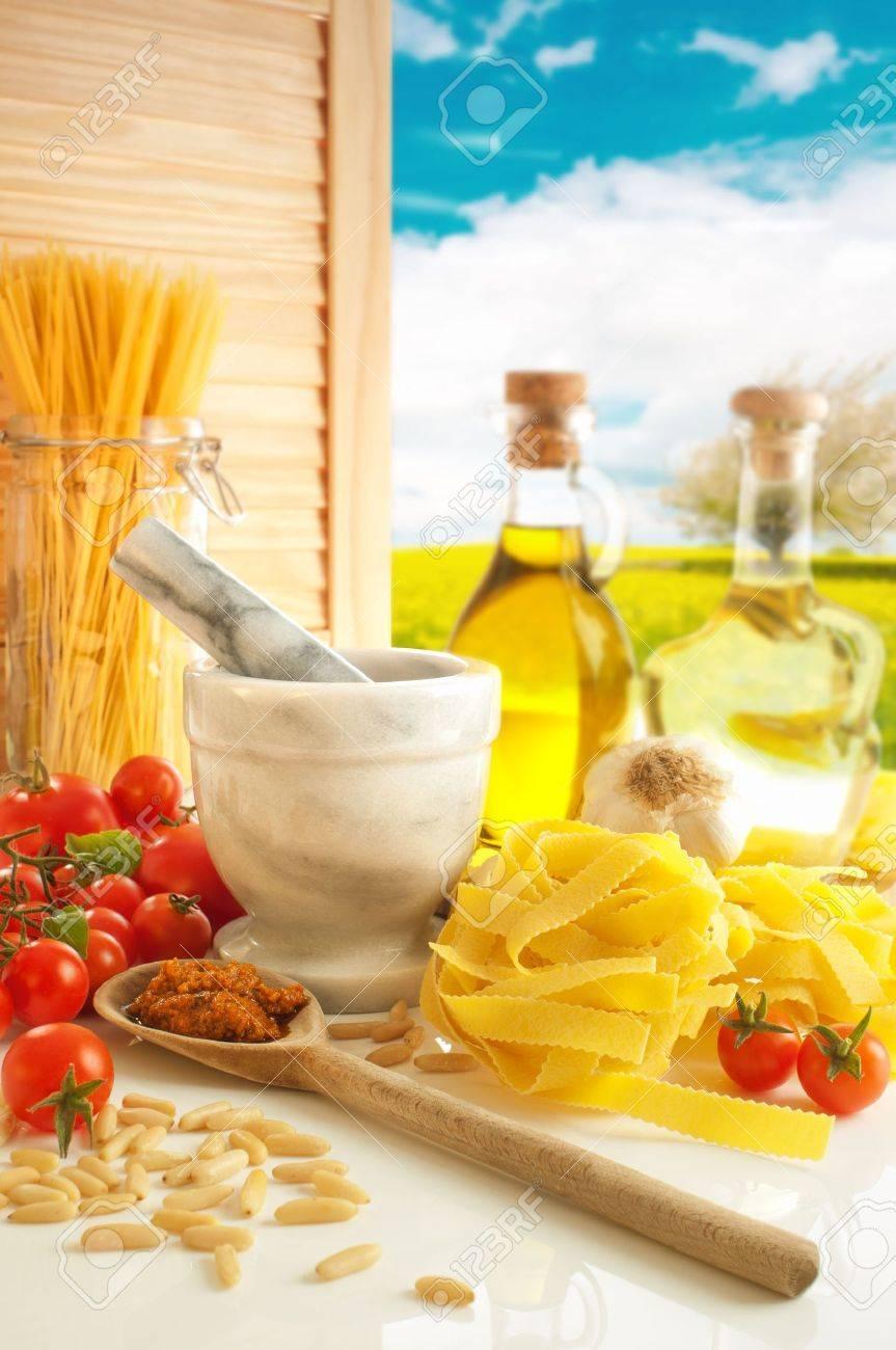 Italian pasta and pesto in country kitchen Stock Photo - 7790352