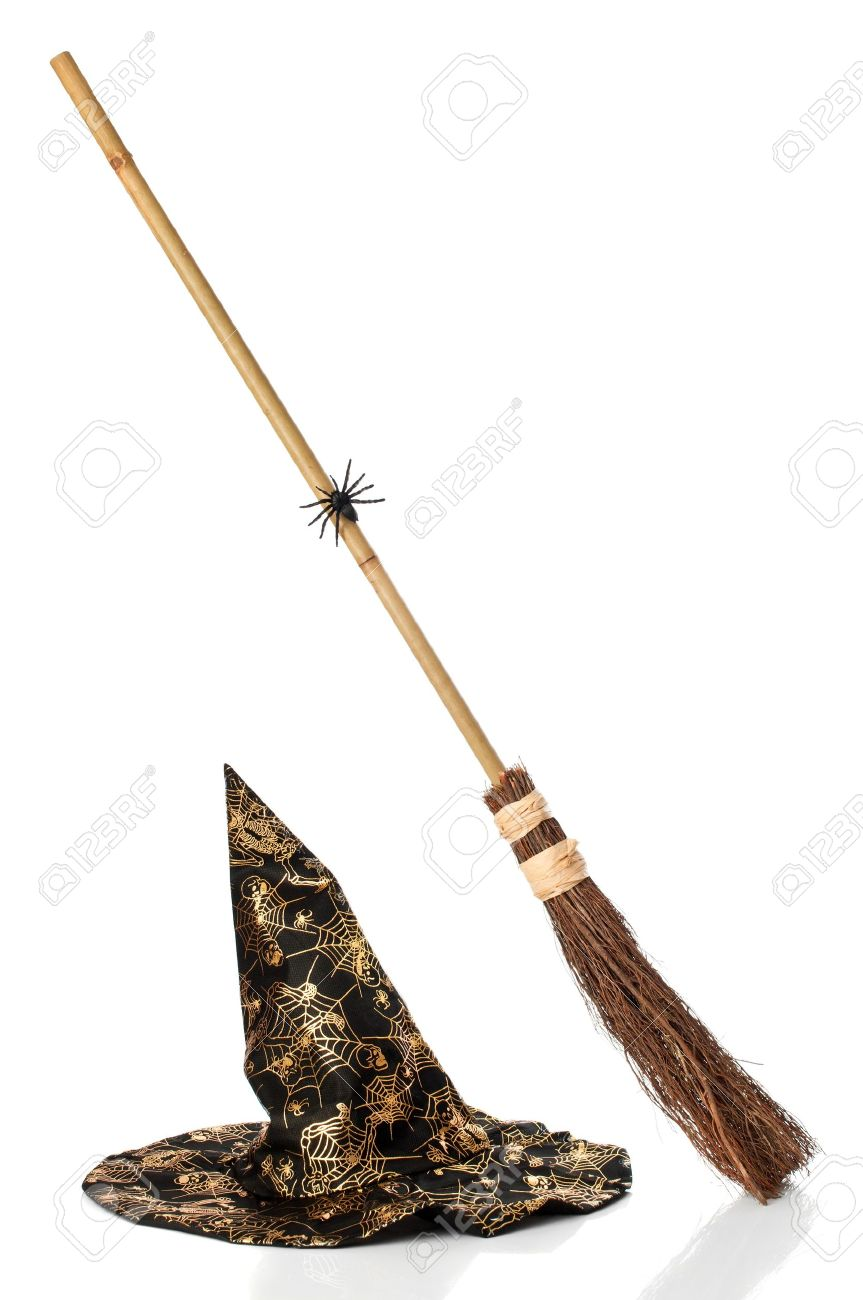 stock photo witches broomstick and hat for halloween holiday