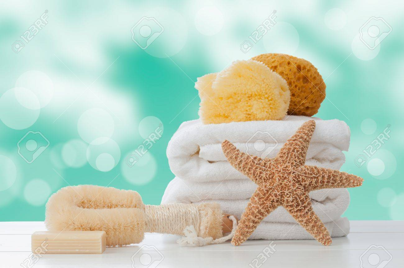 Bathroom towels with sponges and soap Stock Photo - 14203330