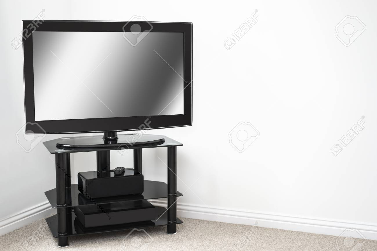 Home entertainment system with blank screen in new property Stock Photo - 17919781