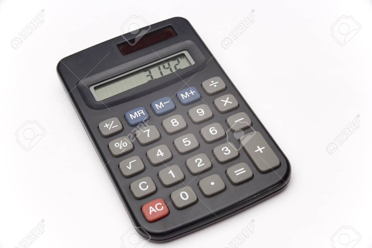 calculator on white background showing value of pi stock photo