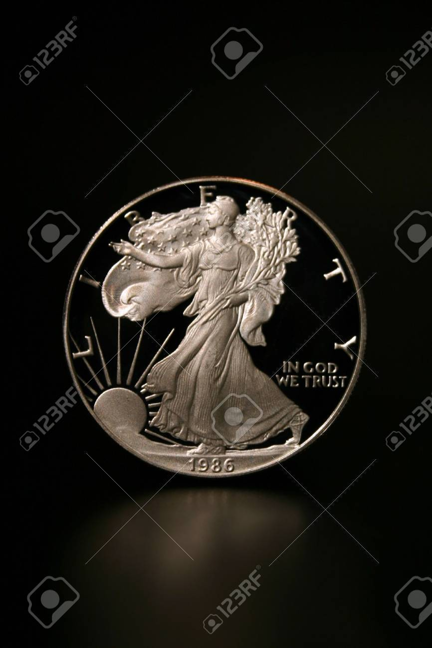One American Eagle Silver Bullion Coin (legal tender) lit from above Stock Photo - 3171958