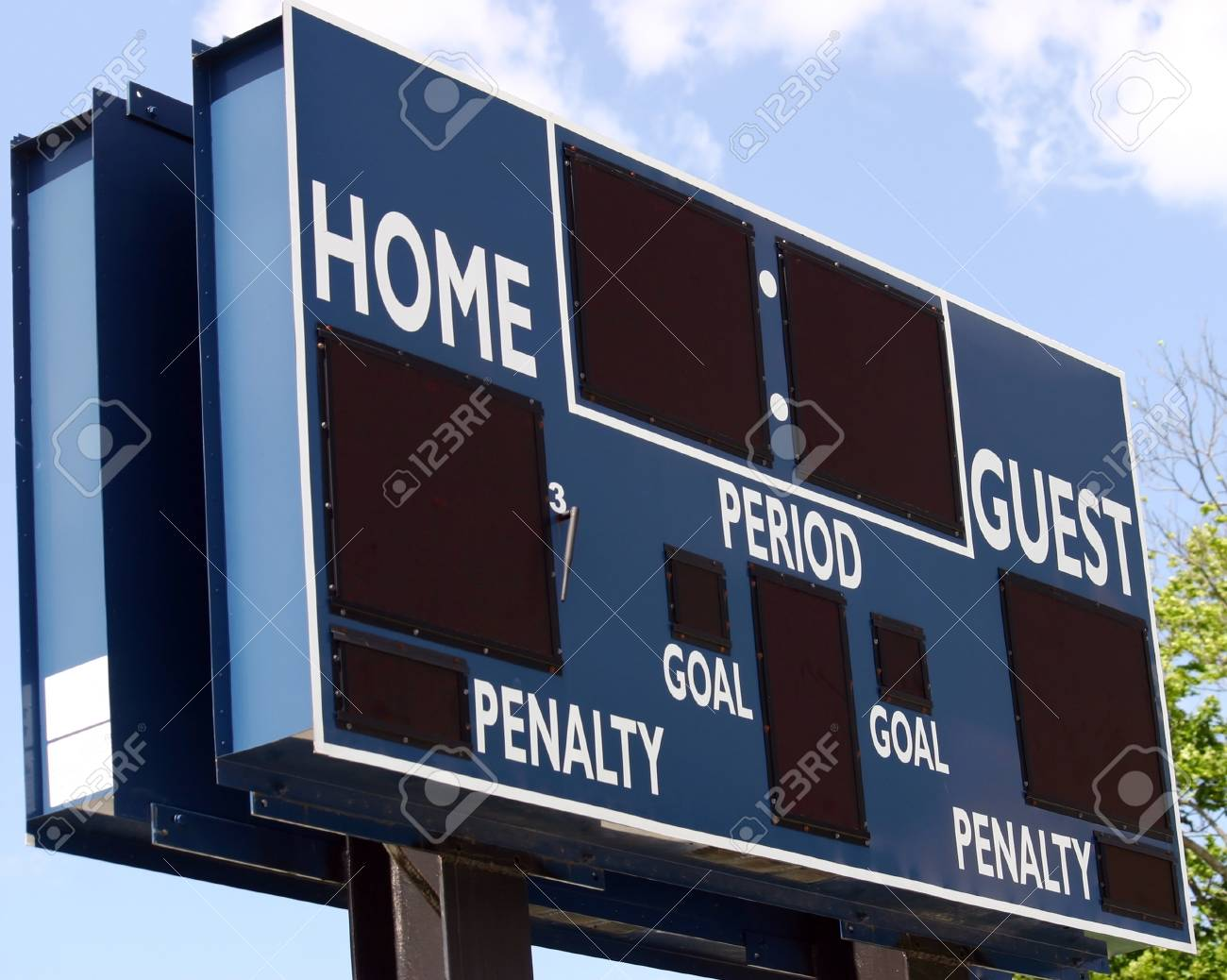 A blue scoreboard in the outfield of a baseball field Stock Photo - 14083659