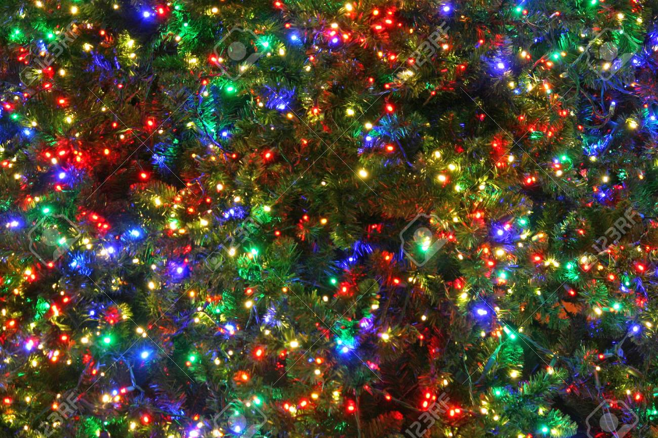 A Close Up Of A Christmas Tree With Multi Colored Lights Stock Photo Picture And Royalty Free Image Image 18296583