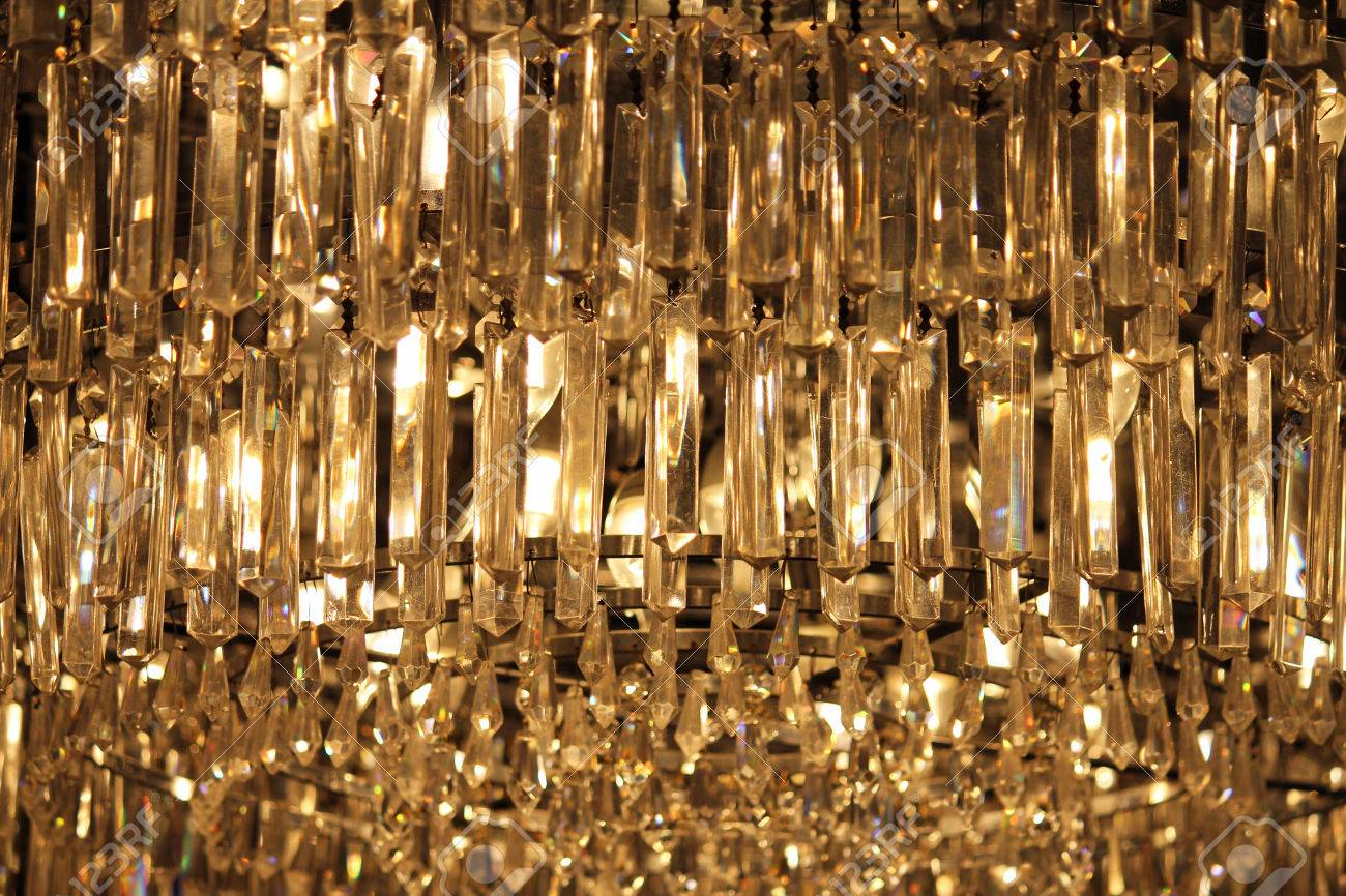 A Modern Hanging Crystal Chandelier Illuminated From Within Stock Photo 35922855