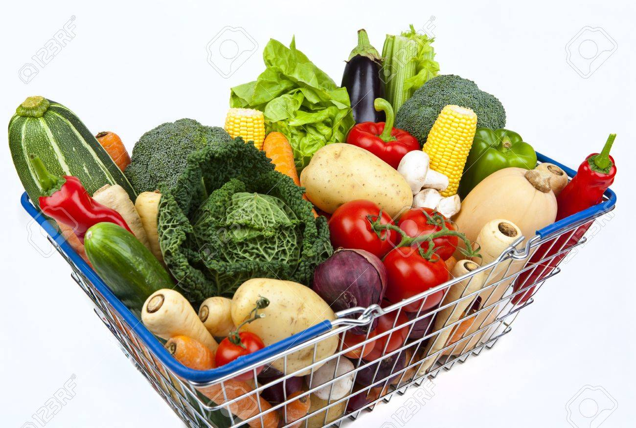 A Shopping Basket Full Of Vegetables On A White Background. Stock Photo    15372733