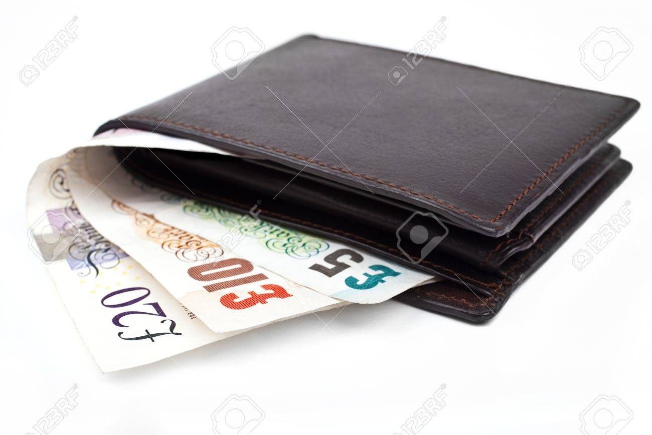 Three cash notes poking out of a wallet on a white background. Stock Photo - 15722679