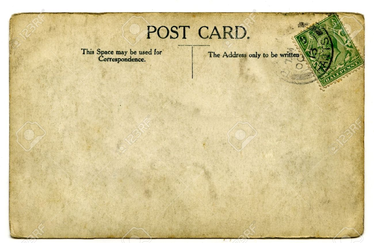 a vintage stamped postcard over a white background stock photo 17522235