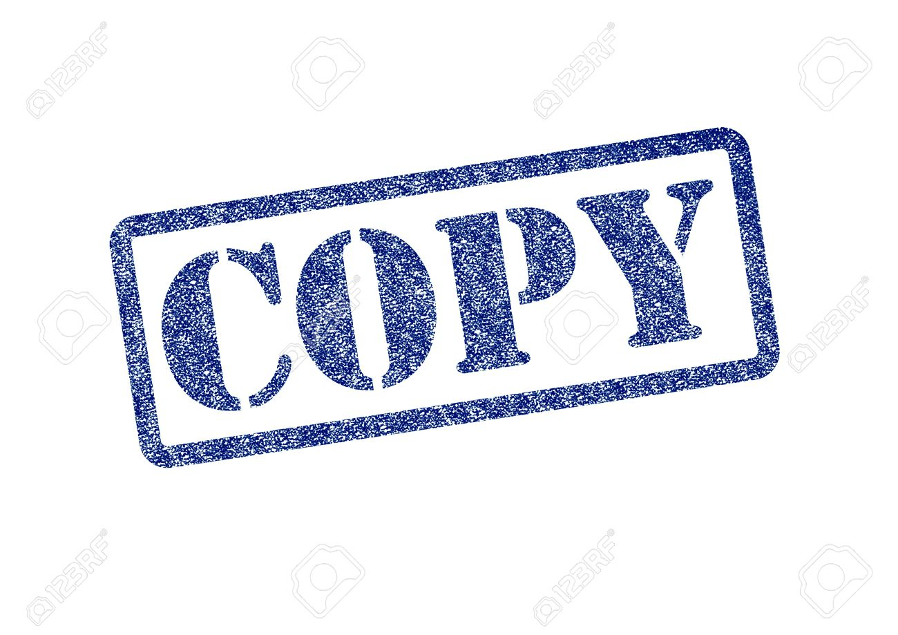 COPY Blue Rubber Stamp Over A White Background Stock Photo
