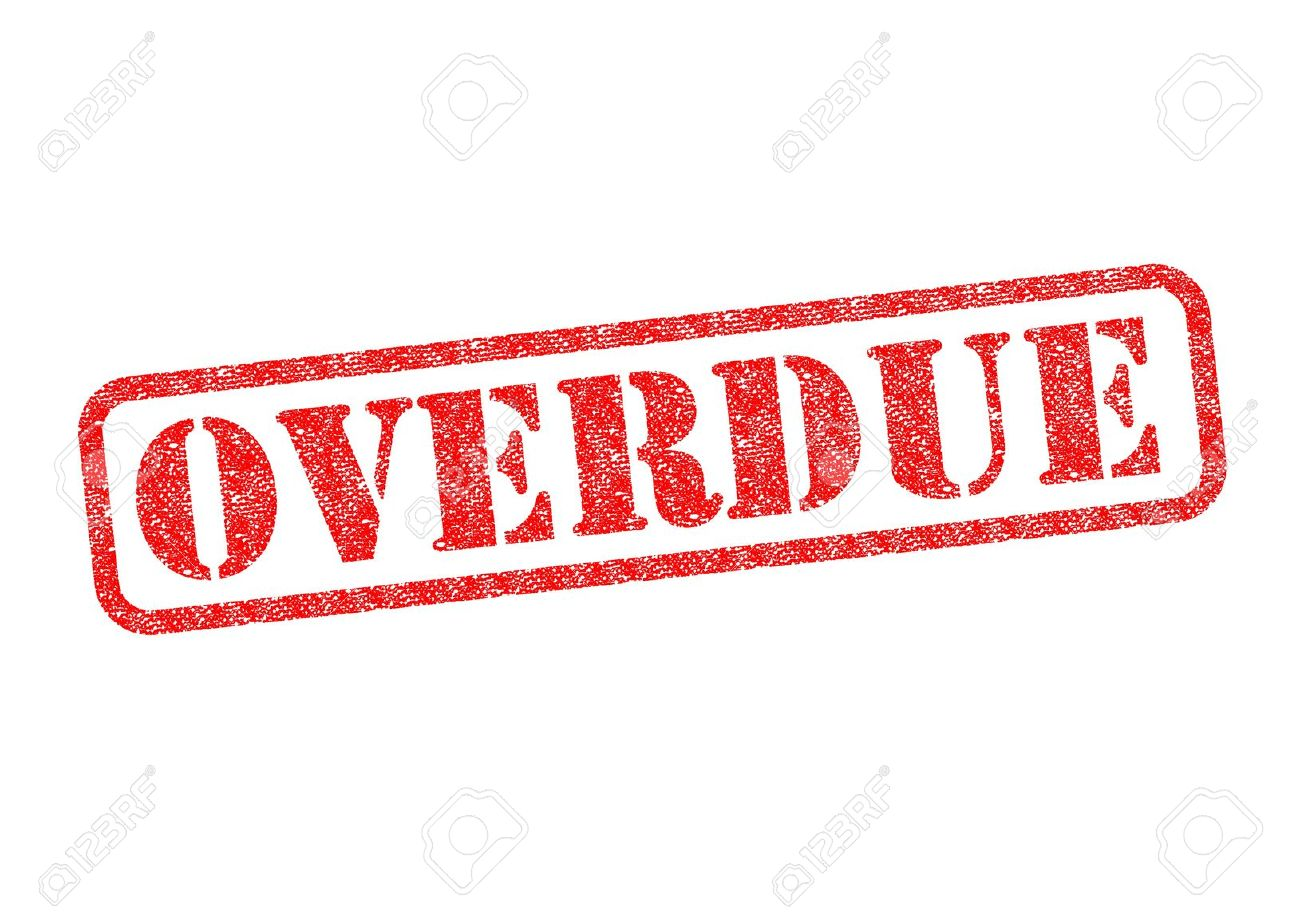overdue red rubber stamp over a white background stock photo