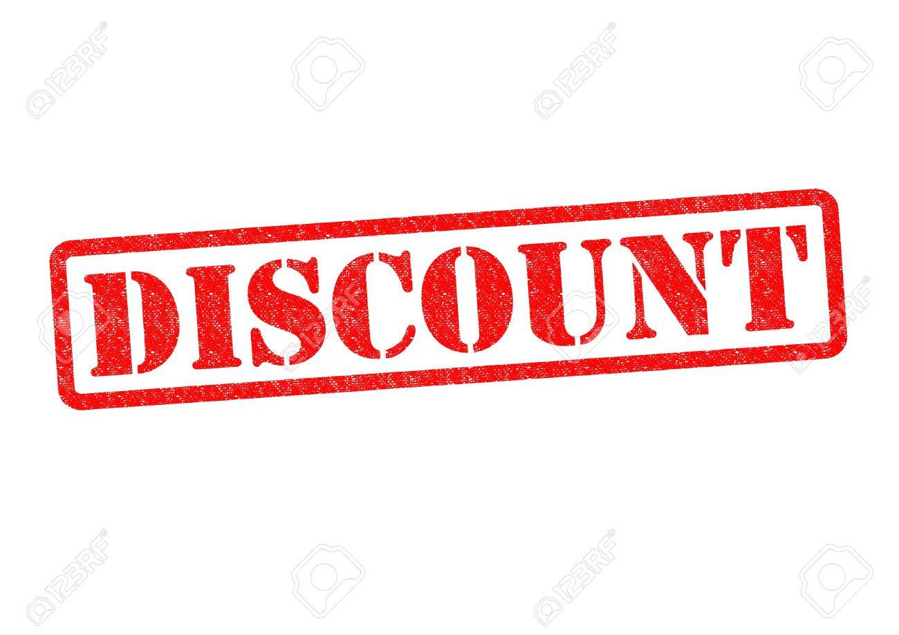 discount rubber stamp over a white background stock photo