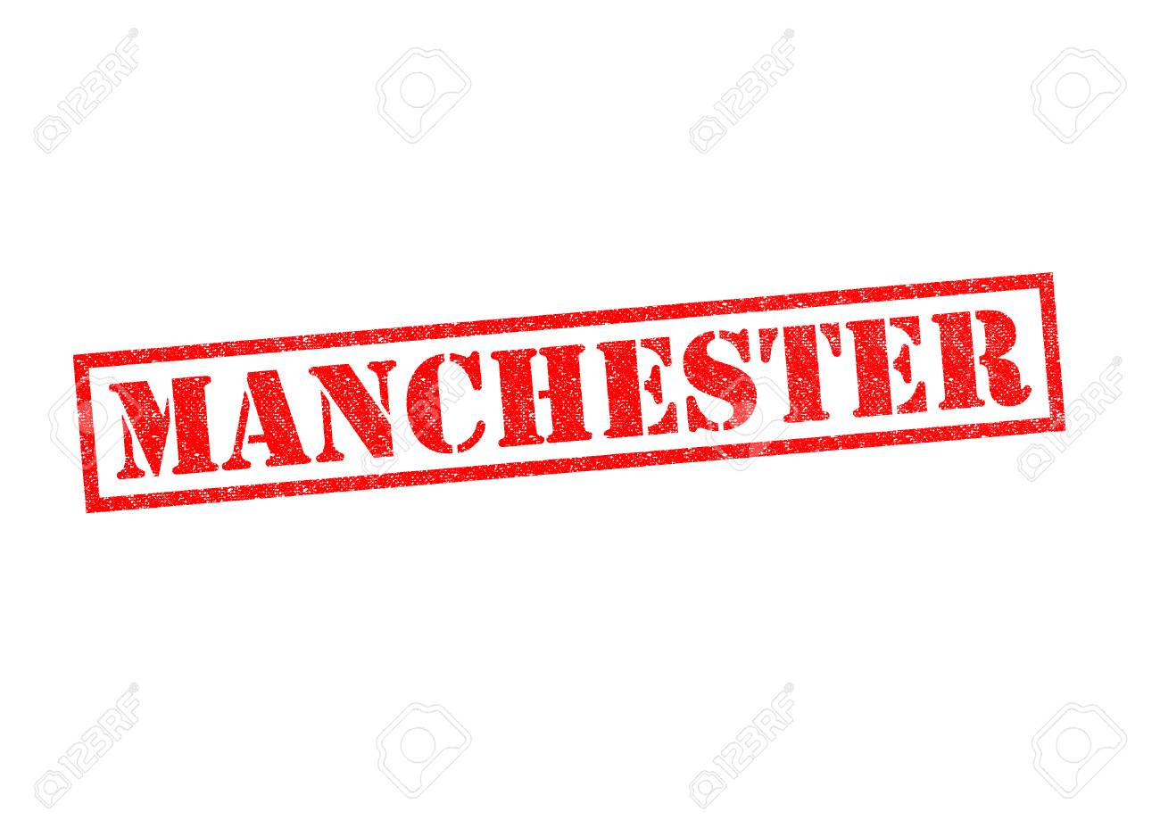 MANCHESTER Rubber Stamp Over A White Background Stock Photo