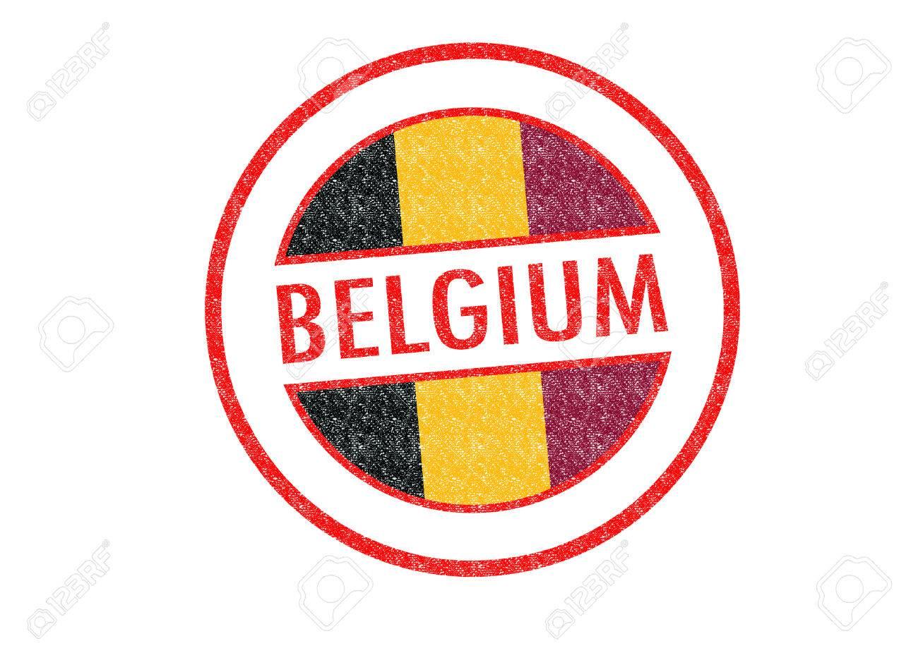 Tipo Pasaporte Bélgica Sello De Goma Sobre Un Fondo Blanco Fotos