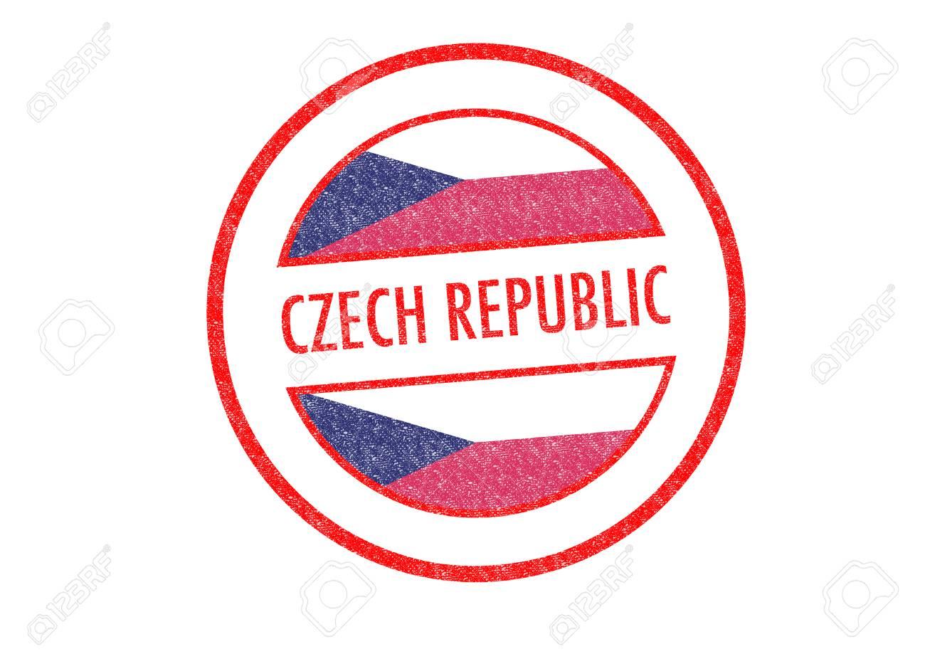 Tipo Pasaporte República Checa Sello De Goma Sobre Un Fondo Blanco