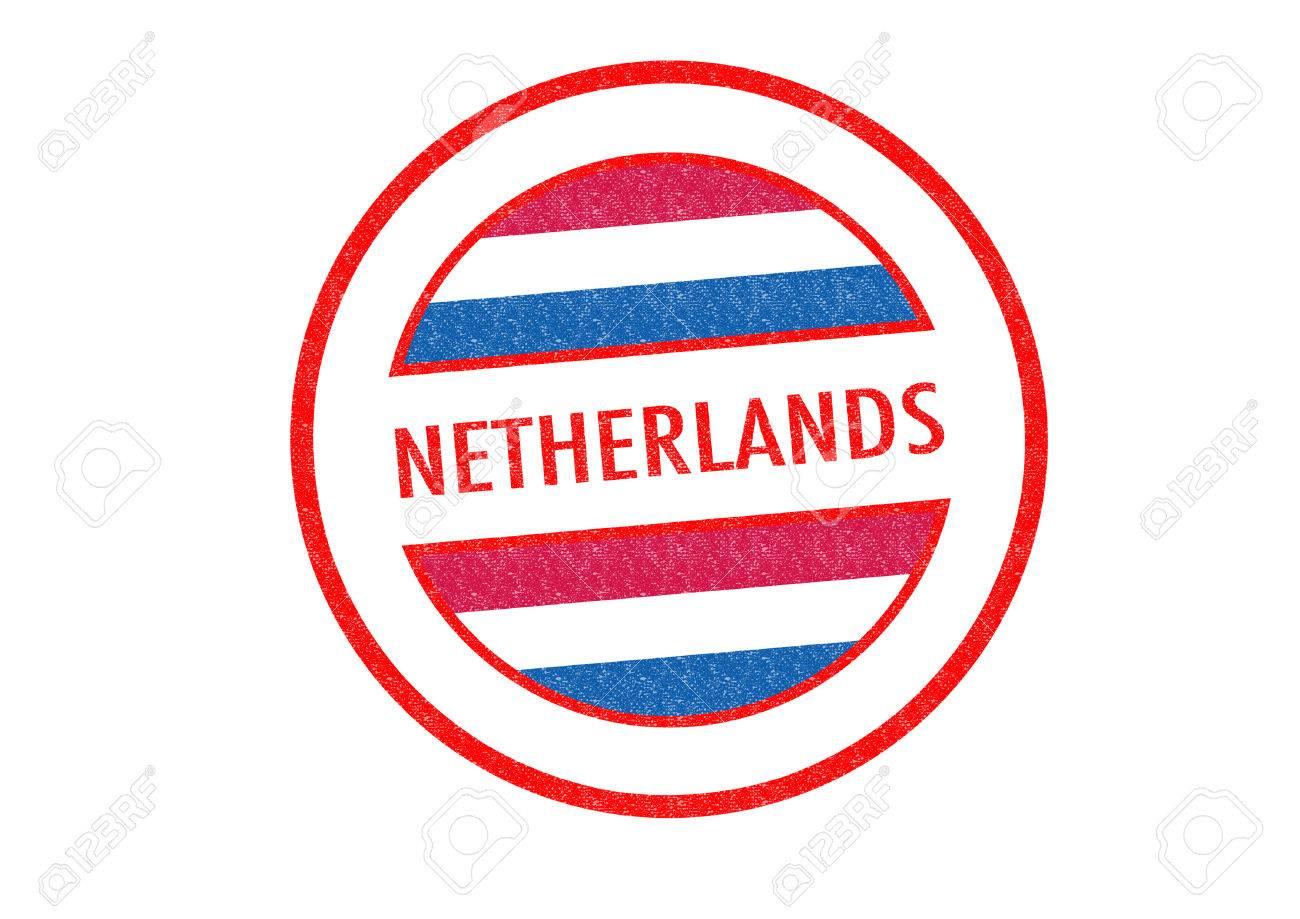 Tipo Pasaporte Países Bajos Sello De Goma Sobre Un Fondo Blanco