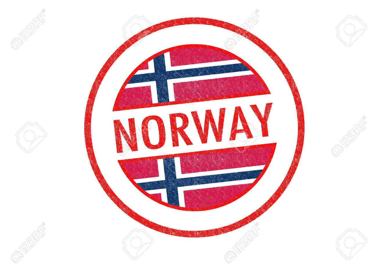 Passport Style NORWAY Rubber Stamp Over A White Background Stock Photo