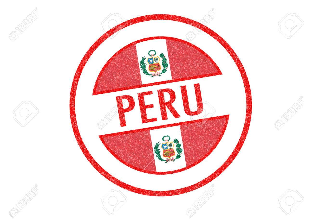 Tipo Pasaporte Perú Sello De Goma Sobre Un Fondo Blanco Fotos