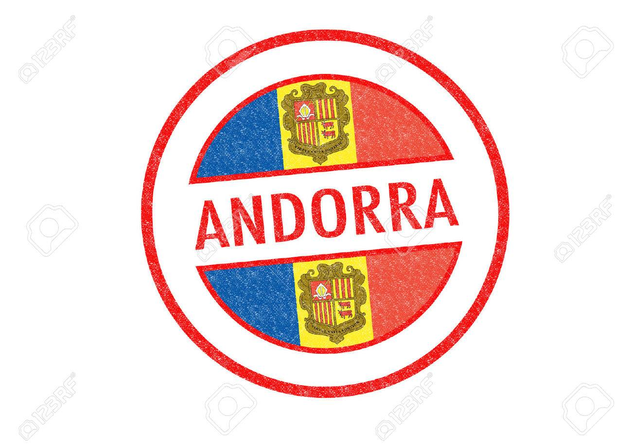 Passport Style ANDORRA Rubber Stamp Over A White Background Stock Photo