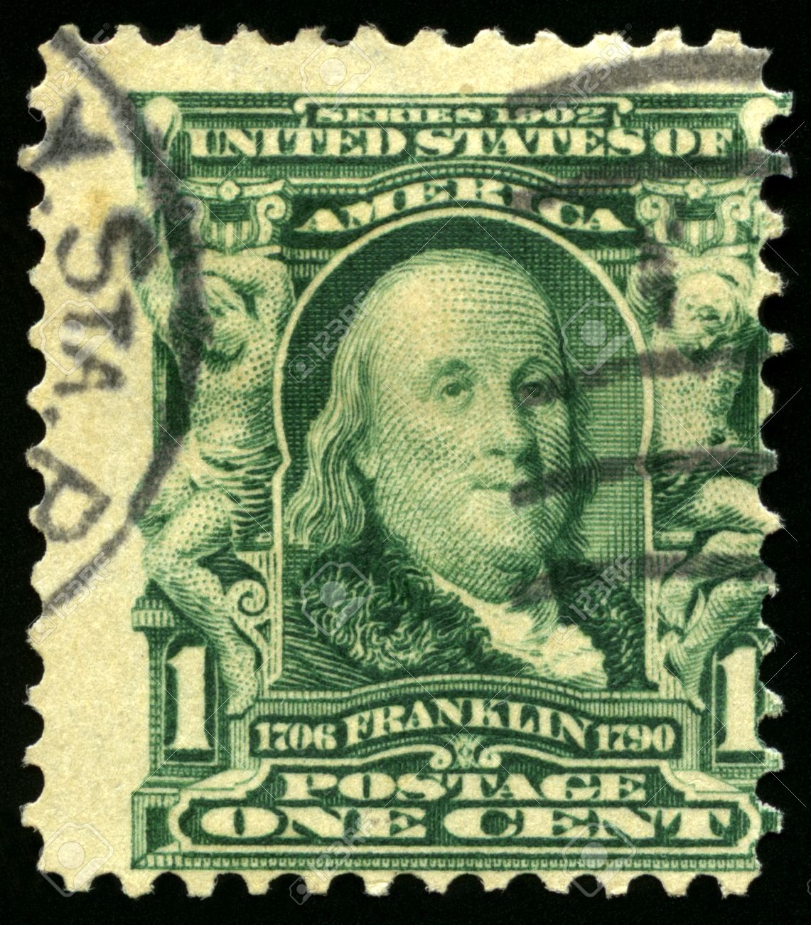 UNITED STATES CIRCA 1902 Vintage US Postage Stamp Celebrating Benjamin Franklin Circa