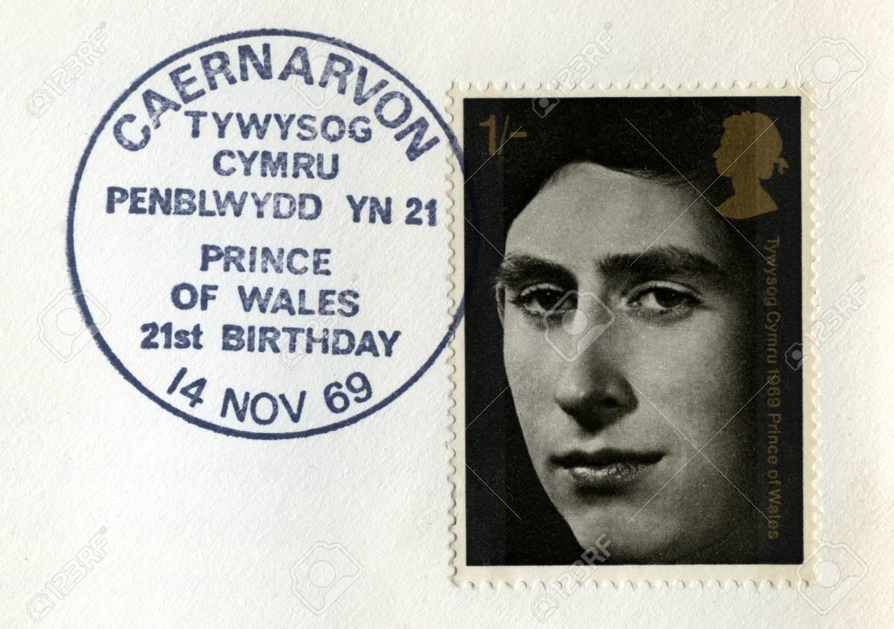 UNITED KINGDOM - CIRCA 1969: Used vintage Postal Stamp celebrating the 21st Birthday of the Prince of Wales, circa 1969. Stock Photo - 25392175
