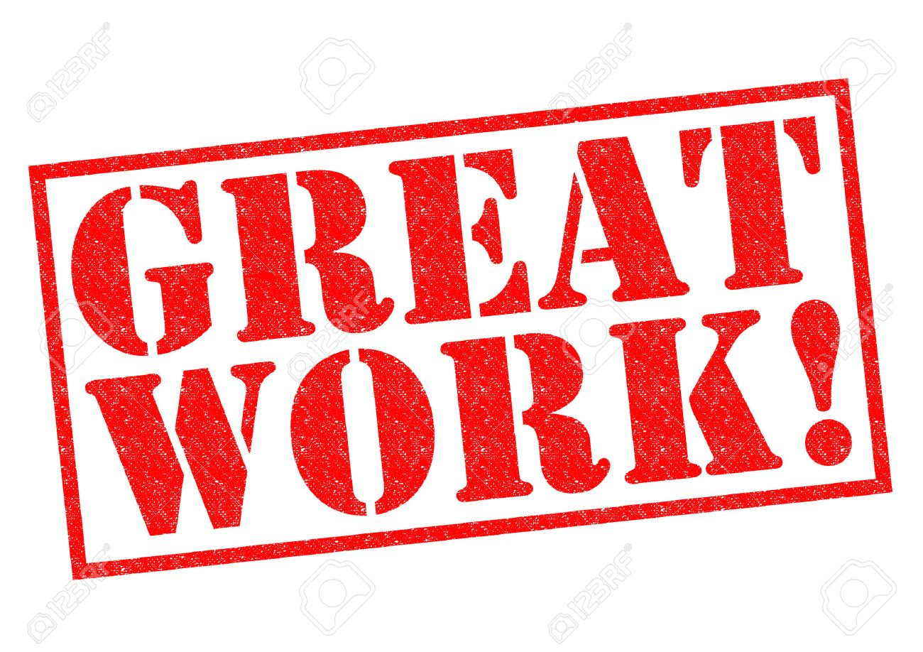 great work red rubber stamp over a white background stock photo