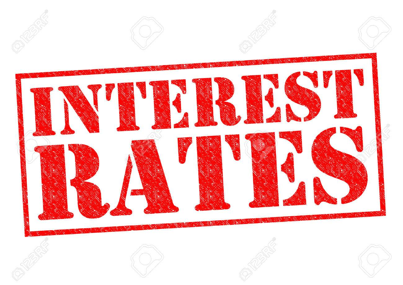 INTEREST RATES red Rubber Stamp over a white background. - 30426103