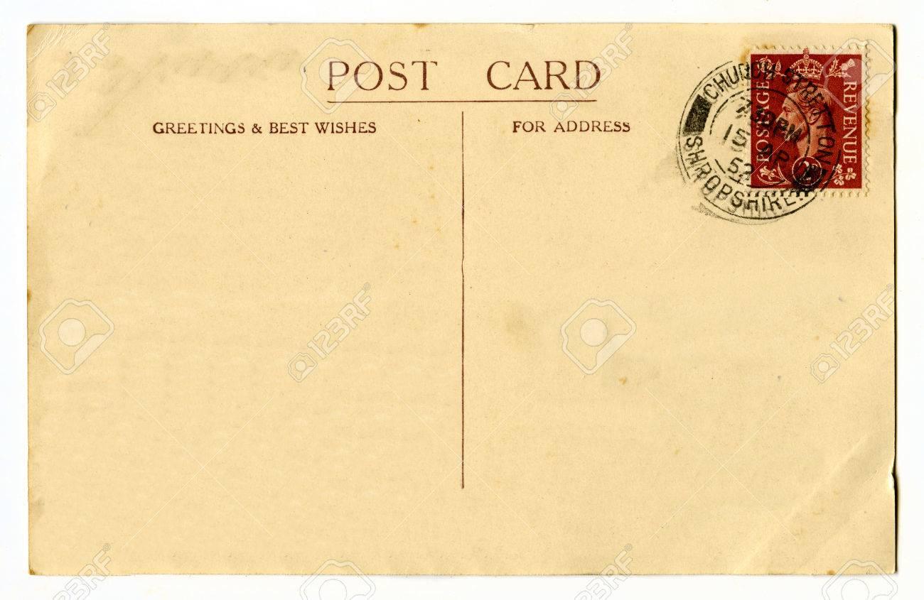 A Vintage Postcard Over A Plain White Background. Stock Photo ...
