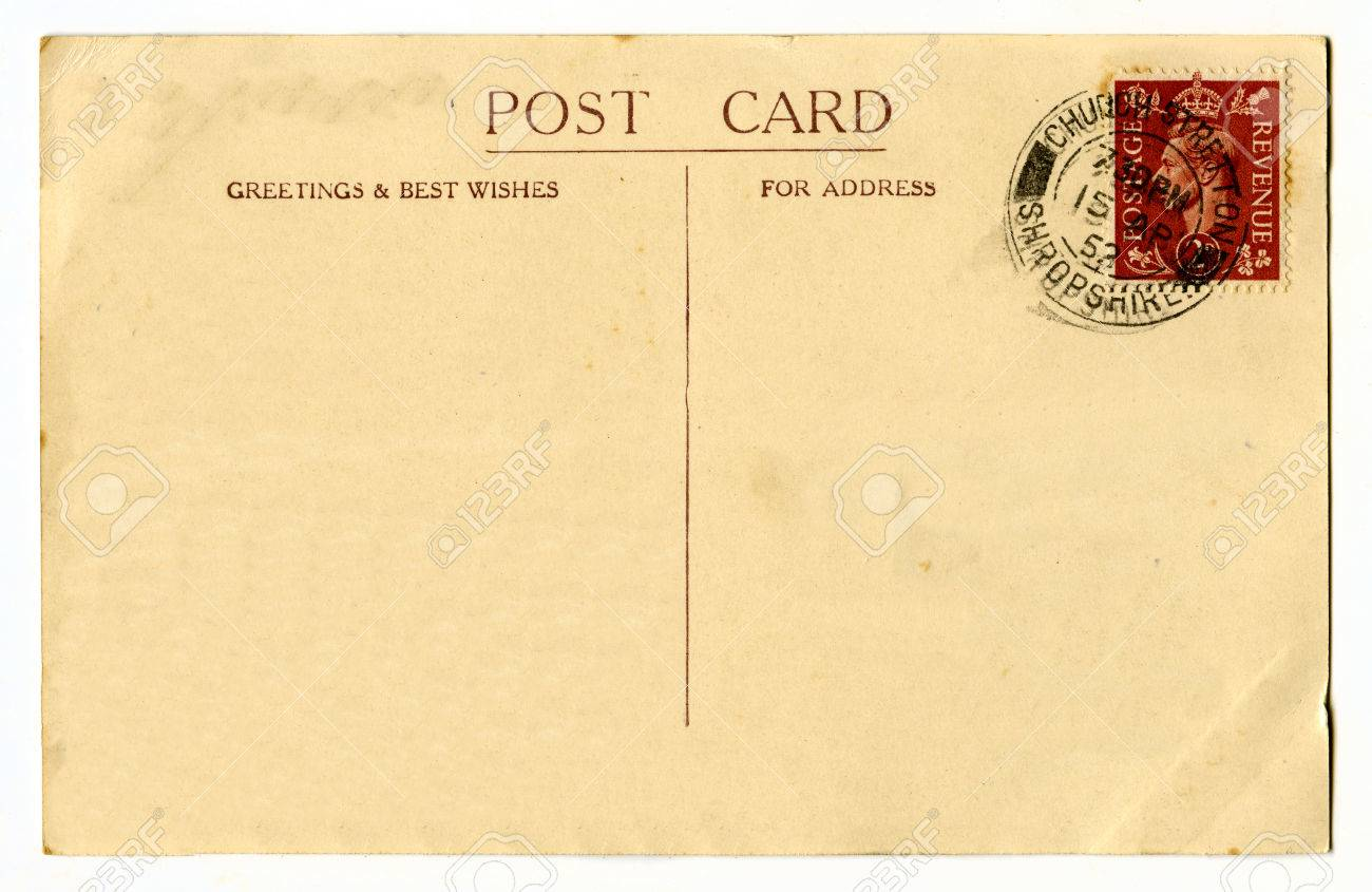 a vintage postcard over a plain white background stock photo 31483662